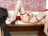 Milf barbie stroker fishnets on the desk