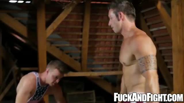 Muscular hunks fucking a sausage jockey