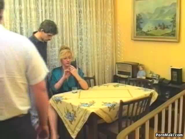 Milf xena fucked in the kitchen threesome