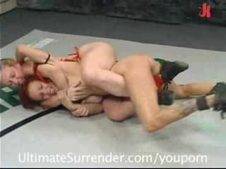 nude wrestling - loser gets strapon fucked!
