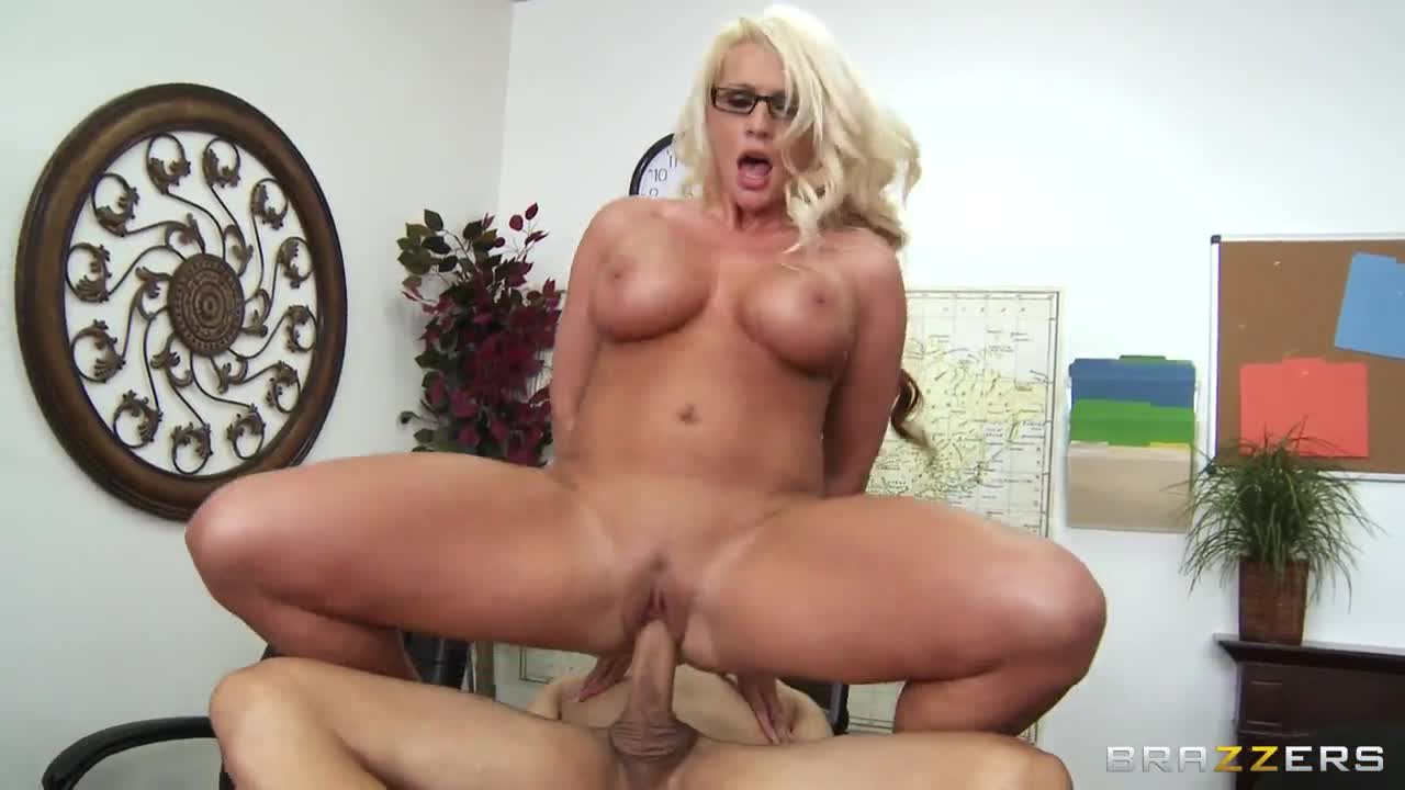 Busty blonde office sex