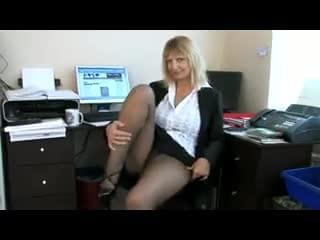 Office MILF Pantyhose Strip And Masturbation