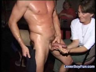 Horny guys groping strippers cock