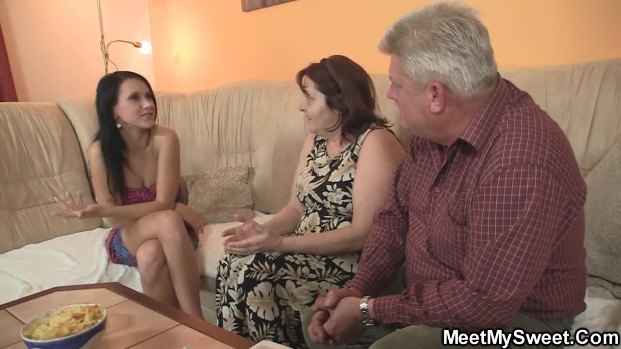 Lesbian couple has threesome