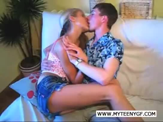 This horny teen couple is making that poor sofa a sperm pool they are fucking like wild rabbits the blonde whore even gets a dose of sperm on her back