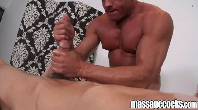 Gay masseur lets penis grow by hand