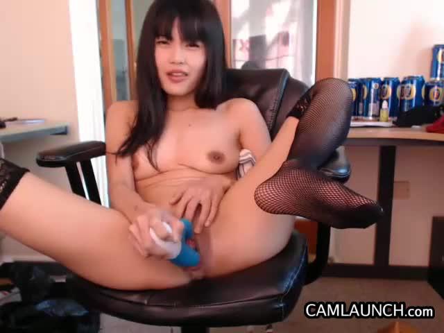 Asian femme fatale rubbing clit on the floor 7