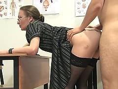 Mature teacher stockings