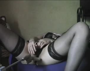 Sabrina playing with her sex machine
