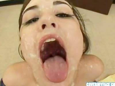 sasha grey eating cum