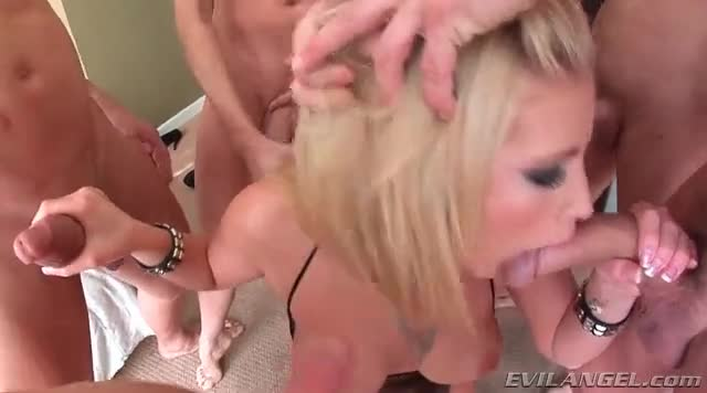 Hot blonde blows dicks