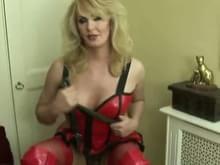 Sexy blonde milf black lingerie