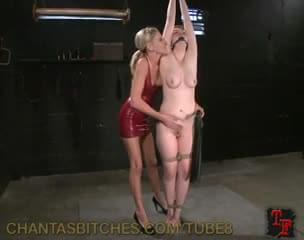 This dirty lesbian dominatrix loves whip girls up and play with their tits. After flogging her slave girl red she uses and electric dildo to shock and fuck her pussy.