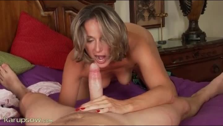 mom gives son blowjob Blonde