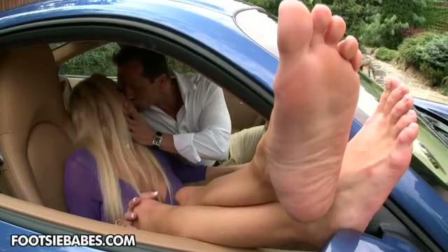 Footjob in a car lucky