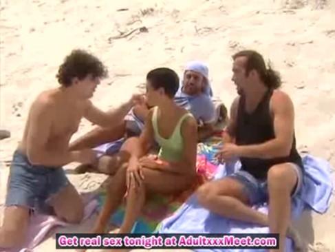gangbangs porn on the beach