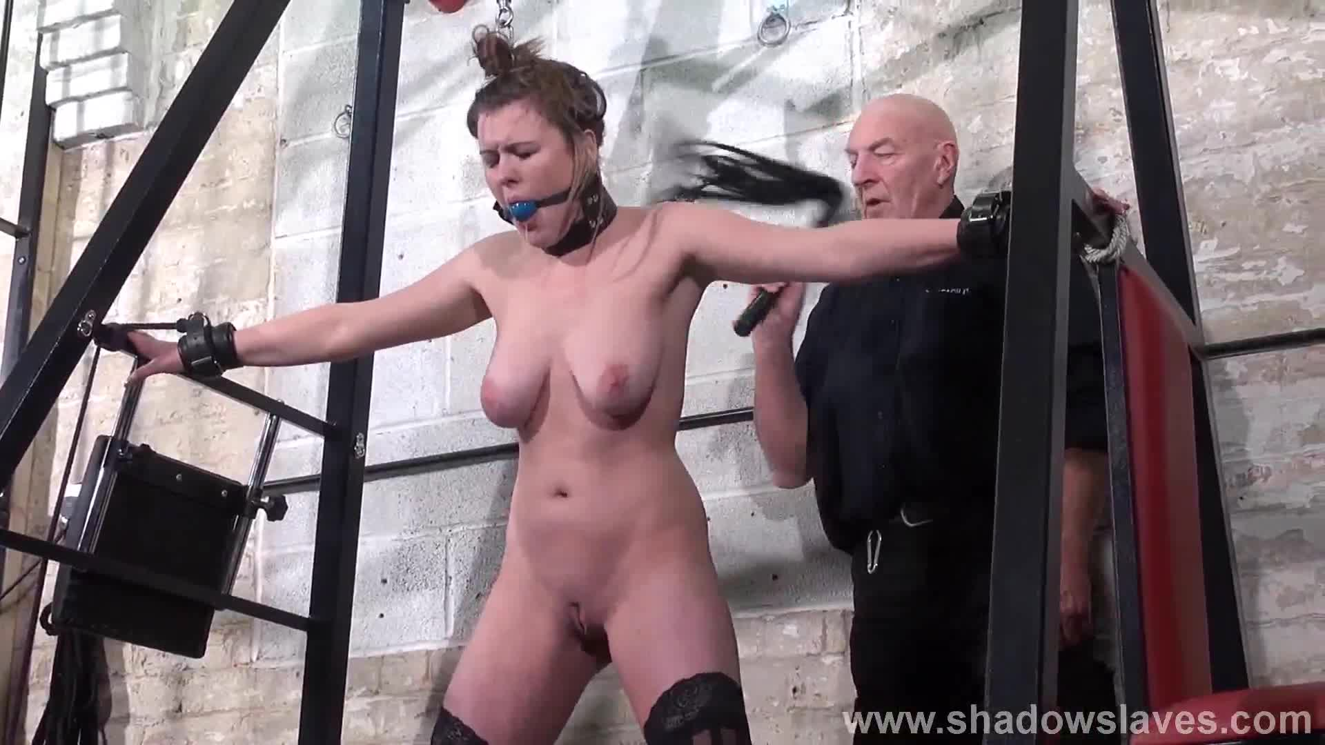 Slave tayolor hearts bound and gagged whipping with blonde 5
