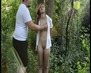 Girl tied to tree and fucked god