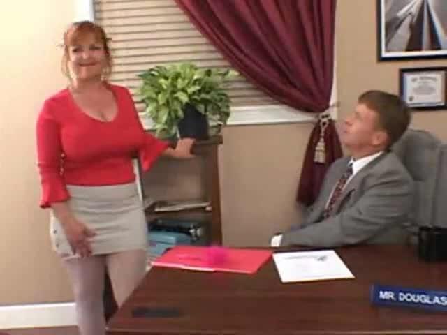 tits secretary big Redhead