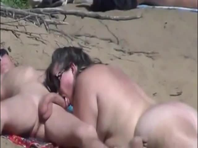 Beach blow job Topless