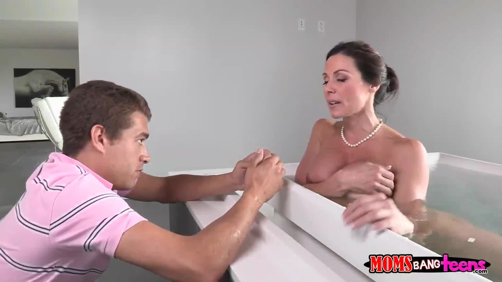 Bathroom son step fuck mom