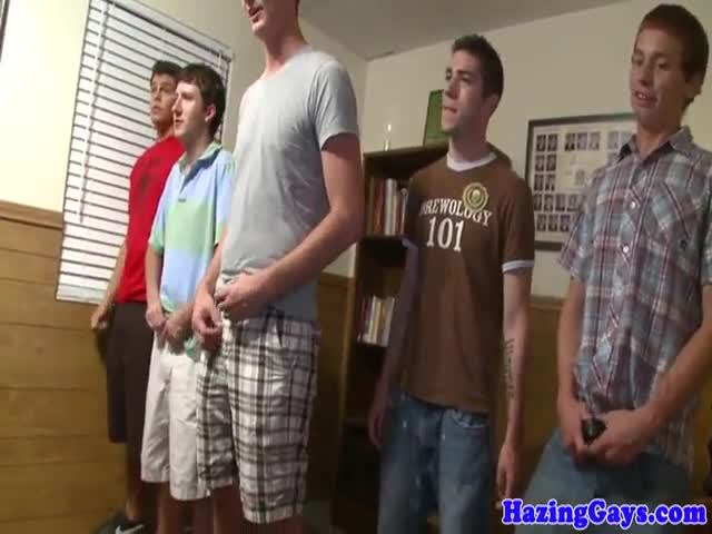 Straight amateur cocksucks in dorm initiation