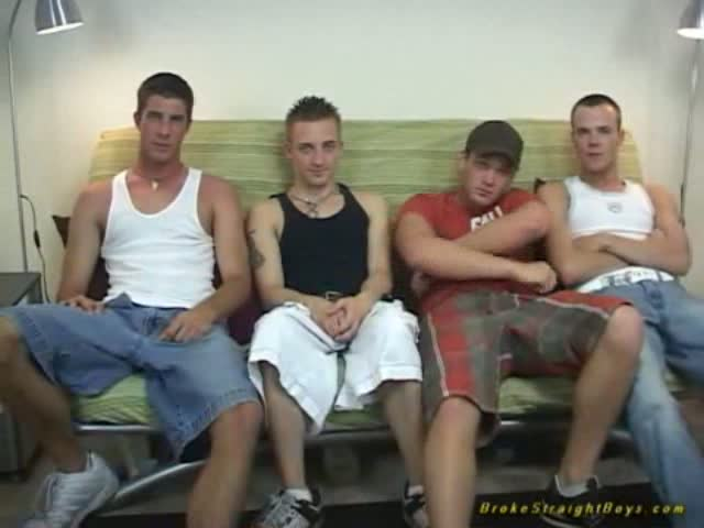 Straight guys use fleshlights in group gay jerkoff