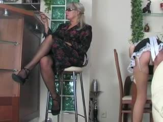 Strap on milf and her maid