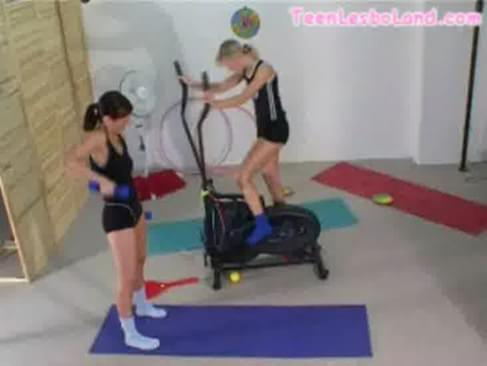 First Lesbian Kiss At The Gym 59