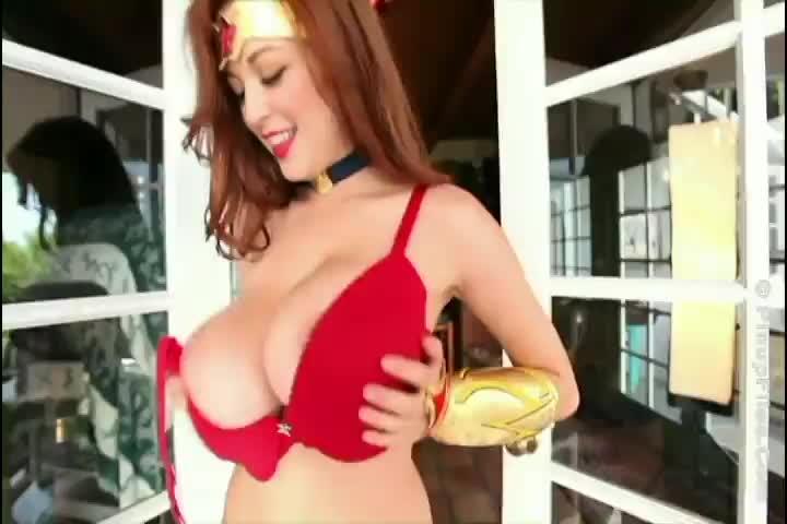 Tessa fowler is a big boob superhero for halloween