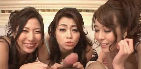 Triple asian blowjob