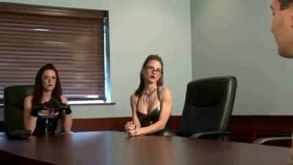 Two doms use office slave with strapons 7