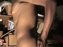 Enchanting latino dude flexes muscles and masturbates