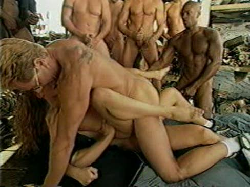 Remarkable, gorgeous blonde gangbang
