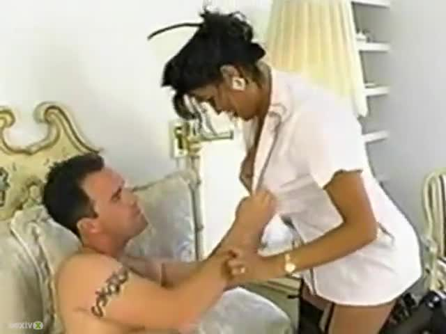Asian nurse does her job