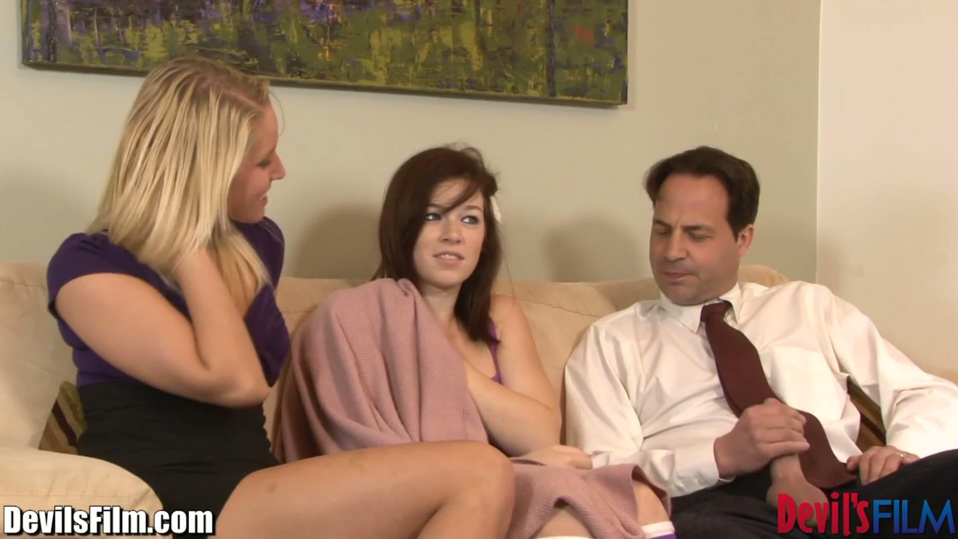 Lesbian Threesome Babysitter And Wife