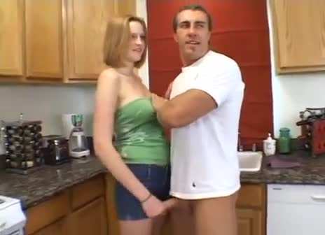 Youthful Beauty Gives Tugjob In Kitchen