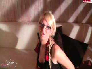 Sexy young blonde in a plaid skirt and glasses sucking dick POV